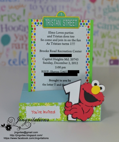 Elmo baby cards shower birthday party invitations for Elmo template for invitations