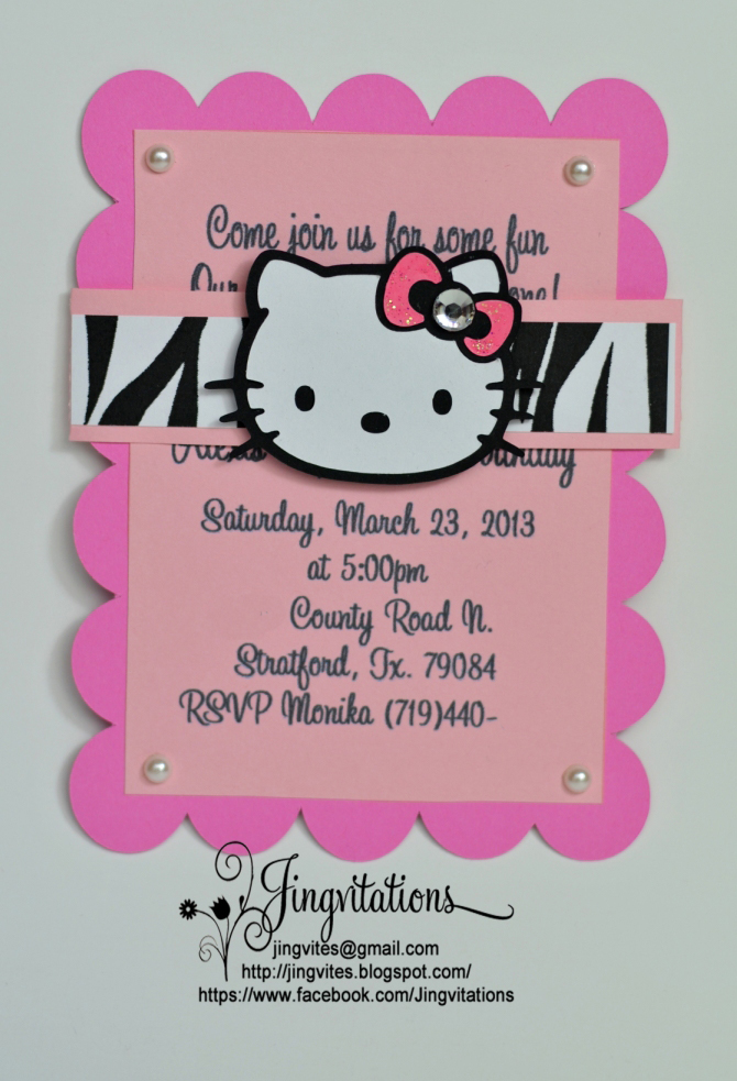 Handmade Hello Kitty Zebra Pink Birthday Invitations Jingvitations